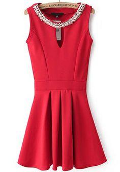 $32 Red Sleeveless Rhinestone Hollow Pleated Dress N.Kr.193.81