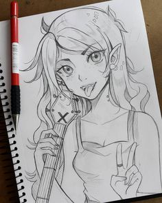 "Polubienia: 2,884, komentarze: 12 – Lärienne  (@lariennechan) na Instagramie: ""My take on highly requested Marceline from Adventure Time!☆ I hope you will like her I will draw…"""