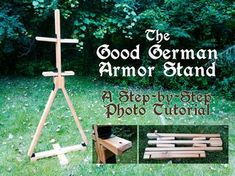 The Good German Armor Stand: How to Make a Portable, Folding Wood Armor Stand in Less Than Three Hours - Woodworking - armor stand tutorial - Honor Before Victory Woodworking Courses, Woodworking Projects For Kids, Woodworking Logo, Learn Woodworking, Woodworking Patterns, Woodworking Supplies, Woodworking Plans, Woodworking Basics, Woodworking School