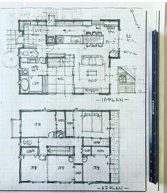Architecture Plan, Architecture Details, Japanese Architecture, Craftsman Floor Plans, House Floor Plans, Schematic Design, Japanese House, House Layouts, House Design