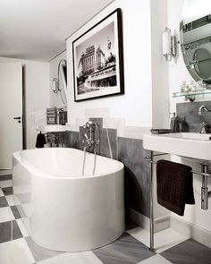 Black and white can be the best color combo for your art deco home interior design ideas. When you like to renew the style in the house, you can go with art deco Parisian Bathroom, Art Deco Bathroom, Bathroom Tile Designs, White Bathroom, Small Bathroom, Bathroom Ideas, Bathroom Inspiration, 1930s Bathroom, Bathroom Artwork