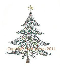 christmas tree calligram - Google Search