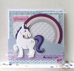 Handmade card by DT member Marleen with Collectables Eline's Horse & Unicorn Design Folder Extra - Little Stars Stitched Waves & Clouds and Basic Round from Marianne Design Unicorn Birthday Cards, Kids Birthday Cards, Unicorn Cards, Kids Cards, Baby Cards, Marianne Design Cards, Horse Cards, Rainbow Card, Animal Cards