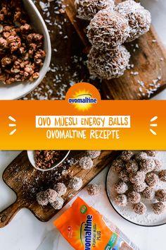 Du bist noch auf der Suche nach einem extravaganten Kaffee-Schöggeli? Dann haben wir das richtige Rezept für dich: die Ovo Müesli Energy Balls! Die feinen Kokoskugeln mit Ovo Müesli Plus sind ultra crunchy und stellen jedes Raffaello in den Schatten.  Psssst: Sie passen natürlich nicht nur zu Kaffee, die Energy Balls gehen IMMER! Happy Kitchen, Snack Recipes, Snacks, Energy Balls, Herbalife, Biscuits, Paleo, Sweets, Baking