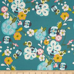 Art Gallery Emmy Grace Floral Floats Fresh from @fabricdotcom%0A%0ADesigned by Bari J. Ackerman for Art Gallery, this cotton print fabric is perfect for quilting, apparel and home decor accents. Art Gallery Fabric features 200 thread count of finely woven cotton. Colors include pink, baby blue, green, citron, grey, and teal blue.
