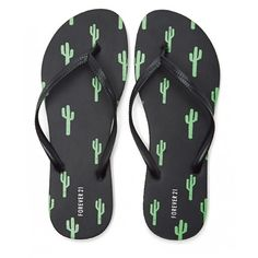 65bbea518e4 Forever21 Cactus Print Flip Flops (5.17 AUD) ❤ liked on Polyvore featuring  shoes