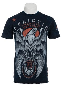 Affliction® Men's Blue Regal Reversible Short Sleeve Tee