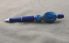 Royal blue bead pen - Unique Handmade blue and teal glass beads, metal pen, and refillable blue ink PEN003