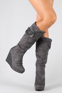 Resta-02 Buckle Round Toe Knee High Wedge Boot