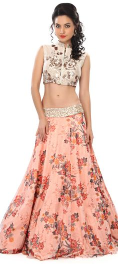 Buy Online from the link below. We ship worldwide (Free Shipping over US$100) Price - $359.00 Click Anywhere to Tag  http://www.kalkifashion.com/peach-lehenga-embellished-in-sequin-and-floral-print-only-on-kalki.html