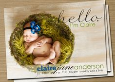 Baby Announcement Idea - Etsy/CardsEtcetera