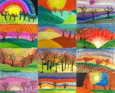 4th grade - mixed media autumn landscapes focused on mark making