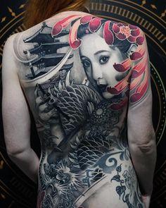 Back tattoo by Chris Showstoppr – Tattoos – Cozy Places Geisha Tattoo Design, Japan Tattoo Design, Japanese Tattoo Women, Japanese Tattoo Art, Girl Back Tattoos, Back Tattoo Women, Chicanas Tattoo, Body Art Tattoos, Tatoos