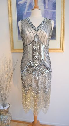 1920s GATSBY Starlight Silver BEADED Flapper Dress-S,M,L,XL, or Plus Sizes - Wear Dreams Are Made
