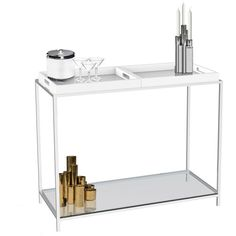Convenience Concepts Palm Beach Console Table with Trays. White, blonde, or dark trays. Also on amazon.
