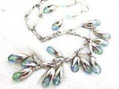 Great Blue Green Glass Crystal Tulip Flower Drop Silver Bib Necklace Earrings | eBay