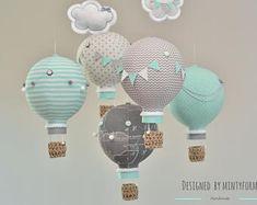 Mint Gray White Hot Air Balloon Mobile Travel Theme Nursery Decor Custom Mobile World Map