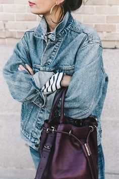 Double_Denim-Levis_Vintage-Skinny_Jeans-Striped_Top-See_By_Chloe_Bag-Chanel_Shoes-Outfit-Collage_Vintage-Street_Style-11