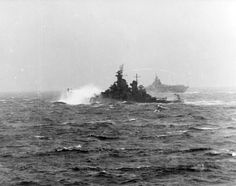 USS New Jersey (BB-62) in a stiff storm in the western Pacific, 8 November 1944.