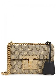 GUCCI PADLOCK GG BEES SMALL SHOULDER BAG. #gucci #bags #shoulder bags #lining #canvas #suede #