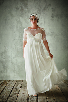 David's Bridal Chiffon Sheath With Illusion Sleeves ($649)                  Image Source: David's Bridal