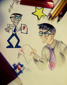 Mr. Crocker, in Anime Style - Fairly Odd Parents - by Gabriel Roberto