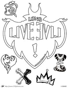 Descendants coloring Page Long Live Evil