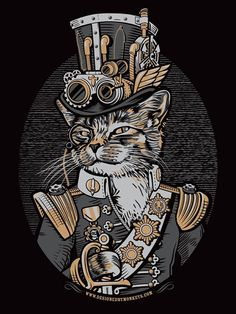 Small Women's The Commodore Owen P. Ticklewhiskers Steampunk Cat T-Shirt