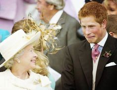 Prince Harry amusing his grandmother. Funny.