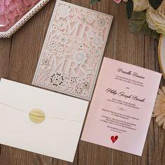9cd6fc2cfc26 Mr and Mrs Laser Cut Wedding Invitations Customized Invitation Cards Laser  Cut Wedding Invitations