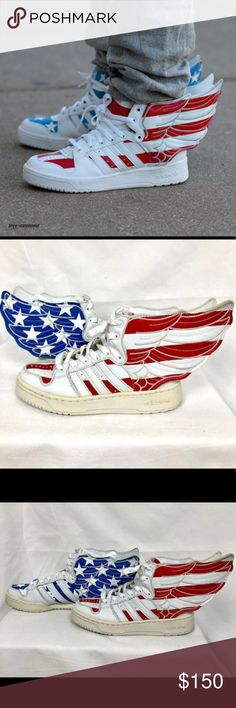 1779e004cb9b Adidas Jeremy Scott Wings 2.0 US FLAG UNISEX Pre-owned rare Adidas Jeremy  Scott Wings