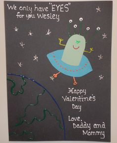 """Valentine Alien Card We Only Have """"Eyes"""" For You Valentine"""