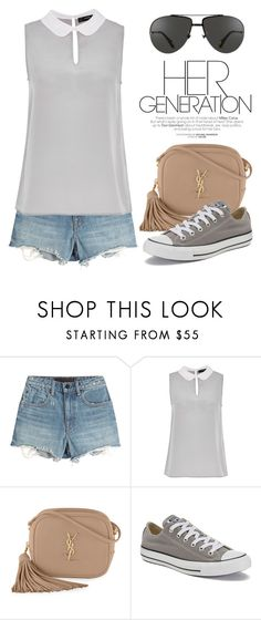 """""""Top with Contrasting Collar 1545"""" by boxthoughts ❤ liked on Polyvore featuring Alexander Wang, Hallhuber, Yves Saint Laurent, Converse, Linda Farrow and contestentry"""