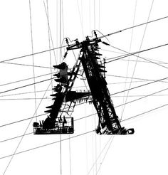 Collaged photos of power lines and transformers in to great serif letterforms