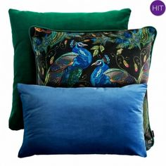 PEACOCK zielono-niebieski zestaw poduszek dekoracyjnych Mebloscenka Gold Pillows, Throw Pillows, Peacock, Blue Green, Couch, Bed, Design, Home Decor, Decorations