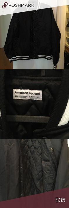 MENS XL Jacket NWOT NWOT MENS XL American Apparel. Black nylon with black and white around the cuffs and neck area. Interior pocket with quilting. A few wrinkles from storage I'm sure they will hang out. American Apparel Jackets & Coats Bomber & Varsity