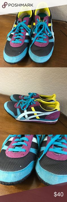 Onitsuka Tiger by Asics sneakers size 11 cute Onitsuka Tiger sneakers good used condition, one white spot on toe great bright colors would look great with jeans! Onitsuka Tiger by Asics Shoes Sneakers