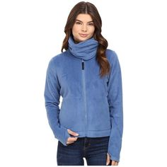 Bench Difference Funnel Neck Sweatshirt (Dutch Blue) Women's... ($69) ❤ liked on Polyvore featuring tops, hoodies, sweatshirts, funnel collar sweatshirt, bench tops, thumb hole sweatshirts, pocket sweatshirt and blue long sleeve top