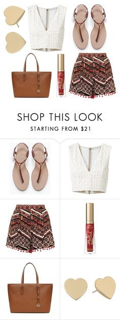 """""""Lady Balls"""" by ellieacd ❤ liked on Polyvore featuring Zara, Alice + Olivia, Topshop, Too Faced Cosmetics, MICHAEL Michael Kors and Kate Spade"""