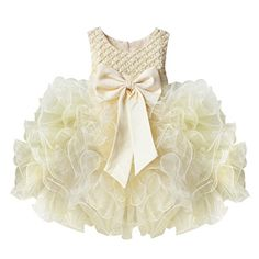 TIAOBU Baby Girls Flower Wedding Pageant Princess Bowknot Communion Party Dress Beige 36 Months >>> Check out this great product.