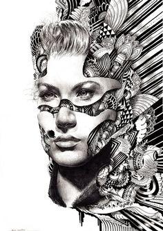 black and white. seems a bit escher inspired.