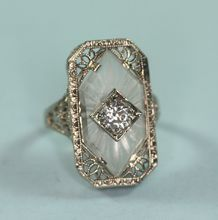 Art Deco 14K White Gold Camphor Glass Diamond Ring Signed