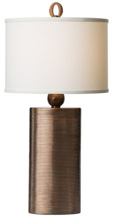 Grooved, Cast Metal Lamp With Copper Finish, Off White Silk, Oval Hardback Shade. #lighting #lamp #decor #homedecor