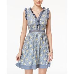 Disney Beauty and the Beast Juniors' Ruffled Fit & Flare Dress ($59) ❤ liked on Polyvore featuring multi