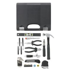 Jupiter professional toolbox. 34 piece toolset in black PE case with anodized aluminium  clip lock in silver. Registered design®