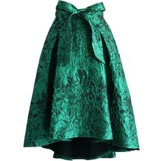 Chicwish Glam Floral Embossed Waterfall Skirt in Emerald (4.040 RUB) ❤ liked on Polyvore featuring skirts, green, floral knee length skirt, floral print skirt, green tie, tulip skirt and tying neck tie