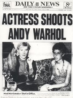 June 1968 - Valerie Solanas shot Andy Warhol at Warhol's studio in New York Andy Warhol Pop Art, Patti Smith, Cultura Pop, Pittsburgh, Memento, New York Pictures, Jean Michel Basquiat, Thing 1, American Horror Story