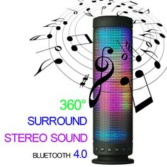 niceEshop(TM) Mini Wireless Portable Bluetooth Audio Speaker with Colorful Led Light (Black). 360-degree surround sound, Built-in high-quality dual voice coil speakers. 180 degree colorful led light, five modes of music pulsating LED visual display. Built-in microphone, support for handfree clear voice call. Bluetooth wireless technology allows for devices with Bluetooth function easy to pair and play music. 3.5mm AUX audio interface, you can connect to devices with the same 3.5mm audio…