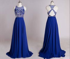 Backless Prom Dresses,Royal Blue Prom Dress,Open Back Formal Gown,Open Backs Prom Dresses,Halter Evening Gowns,Chiffon Formal Gown For Senior Teens