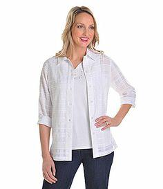 Allison Daley II Textured Plaid Shirt #Dillards